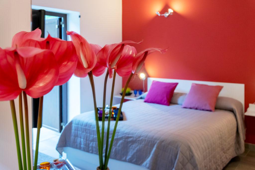 camera frantoio con fiori in primo piano